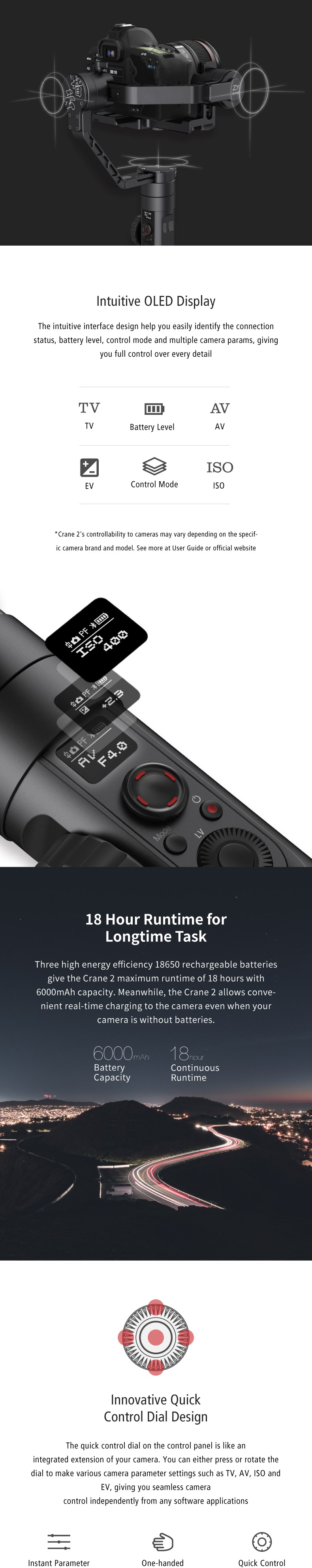 Zhiyun Crane 2(Servo Follow Focus Included)3-Axis Handheld Gimbal Stabilizer Wireless Remote 7lb Payload Display 18H Runtime1