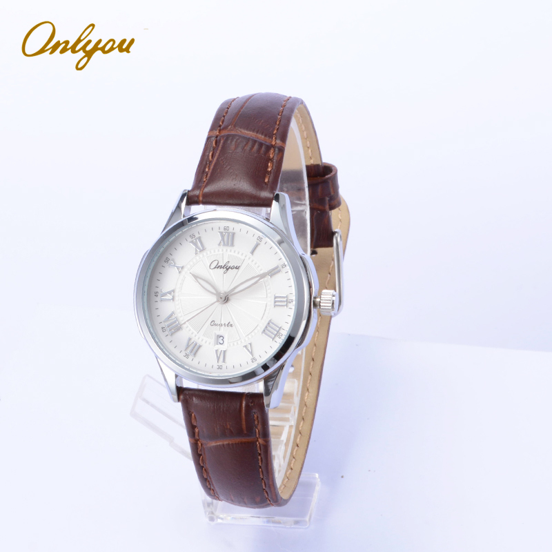 Onlyou Brand Fashion Casual Watches Women Men Genuine Leather Watchband Stainless Steel Watchcase Ladies Dress Watch Clock 81057<br>