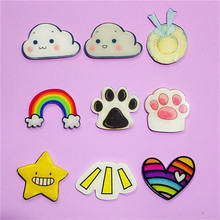 1 PC Cheap Cartoon Rainbow Star Bow Brooch Acrylic Badges Icons on The Backpack Pin Badge Decoration Badges for Clothing(China)