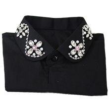 Detachable Black ladies fake collar Crystal New shirt sweet cotton collar Ladies  shirt lapel pearl Spangled 7122037ea3e5