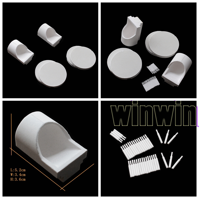 4Pcs Dental Porcelain Honeycomb Firing Trays+40 Zirconia Pins+2Pcs Crucible Hooded<br>