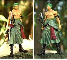 2017 best selling One piece hand do Three pole flow Roronoa Zoro Action figure 25cm swordsmen Furnishing articles decorations