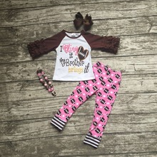 Football clothes Fall suit baby girls ruffles boutique pants print long sleeves my brother with matching bow and necklace set