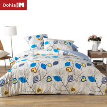 Dohiammk Bedspread Bedding Sets Leaf Plant Print 100% Cotton Soft Brand Duvet Cover High Density Twill Printing