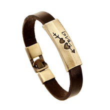 Microheart Europe Punk Style Leather Bracelet Rivet Alloy Braclet for Love Genuine Leather Bracelt for Male Pulseras Cuero Mujer(China)