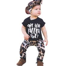 Toddler Baby Boys Girls Outfit Clothes T-Shirt Tops+Leopard Pants Headband Set Pattern Type  Children's clothing girl sport suit