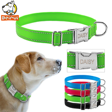 Reflective Engraved Dog Collar Nylon Personalized Night Safe Collars with Metal Adjustable Buckle For Small Medium Large Pet(China)