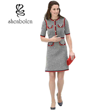 Shenbolen 2017 Early Autumn Kate Middleton Grey Tweed  Dress Women O-neck Short Sleeve Patchwork Tunic Party Dress Vestidos