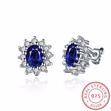 INALIS 1.5ct Oval Blue Sapphire Earrings Stud 925 Sterling Silver Fashion Princess Diana Engagement Wedding Accessories(China)