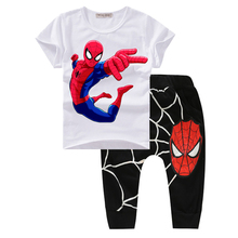 Boys Clothes Summer 2017 New Spiderman Toddler boys Clothing Set Cute Print Cartoon Print Cotton Baby Boys Suits Fashion T21