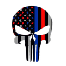 Punisher Skull Police Thin Blue Line flag Decal Sticker Graphic BLUE RED LINE PUNISH DECAL