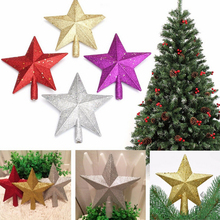 Colorful Christmas Star Lovely Shiny Xmas Decorative Christmas Tree Topstar For Table Top Christmas Ornament 1PCS 20CM(China)