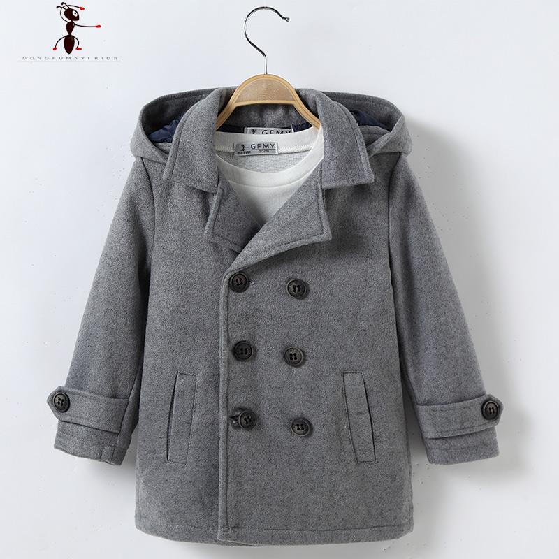Hooded Woolen Boys Fashion Worsted Solid Full Sleeve Long Turn-down Collar Blends Wool Coat for Boys Reima Casaco 2529<br><br>Aliexpress