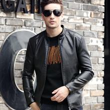Leather jacket men fall 2017 new men's leather jacket motorcycle suits collar leather jacket Slim Korean handsome(China)