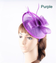 17Colors fancy feather fascinators purple sinamay millinery hat wedding hair bands elegant women church fashion coktail headwear(China)