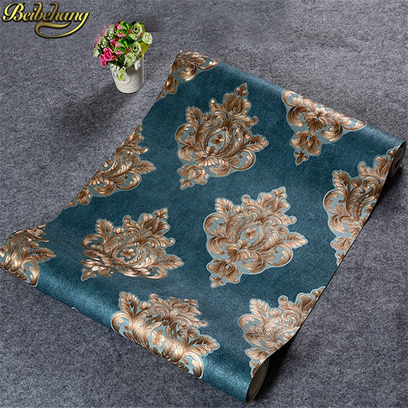 beibehang Dark Wall paper Retro Damascus 3d flooring wallpaper for walls 3 d contact paper roll TV Room Bedroom Wall paper rolls<br>