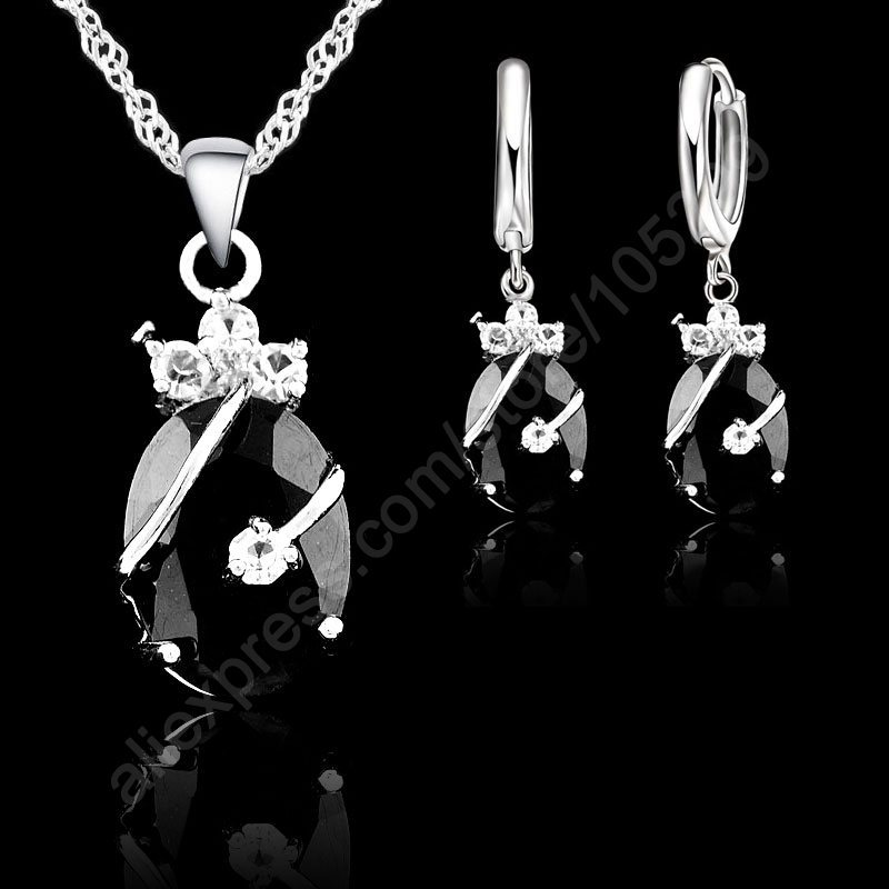 JEXXI New Brand Wedding African Jewelry Sets 925 Sterling Silver Austrian Crystal Water Drop Pendant Necklace Hoop Earrings Sets(China (Mainland))