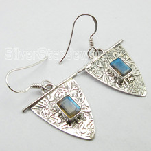 Chanti International ENGRAVED Indian ART, Pure Silver Blue LABRADORITE WELL MADE Earrings 3.7 CM(China)