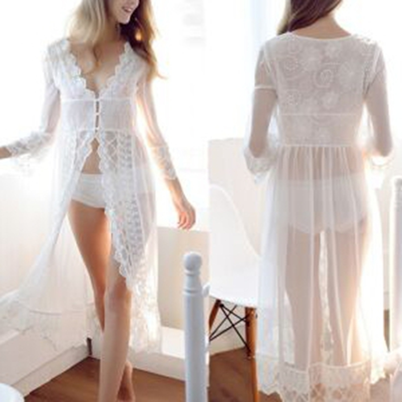 2018 Nightgowns Maxi Lace Robe Sexy Sleepwear Long Bathrobe Women Kimono Dressing Gown Nightgown Lingerie Camisola Sleep Lounge