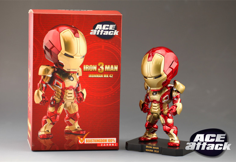 Iron Man 3 LED Eyes Super Hero The Avenger ACE Attack IronMan Mark VII MK 42 Action Figure Collection Model Toy PVC 15cm<br><br>Aliexpress