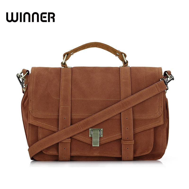 Suede Leather Satchel Women Messenger Bags Vintage Designer Postman Handbag Female Briefcase Big Crossbody Hand Bag for Lady<br>