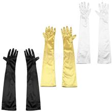 "3 Pairs Below the Elbow Gloves 22"" Long Satin Stretch for Evening, Prom White Black Gold(China)"