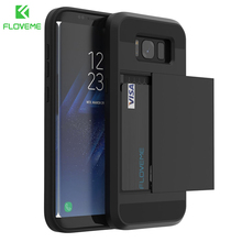 FLOVEME Credit Card Slot Armor Case For Samsung Galaxy S8 S8 Plus S7 S6 Edge S6 Edge Plus Slider Armor Style 2 in 1 Cover Shells