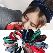 Women Headband New 2017 Twist Hair band Ladies Retro Bow Tie Hairband Girls Elastic Velvet Headwrap Hair Accessories