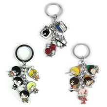 Trendy Japanese Anime High Quality Attack On Titan Figures Toys dolls Keychain Metal Keyring pendant for Kids toy Gift