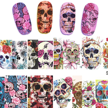 STZ 1 sheet Nail Sticker Halloween Style Cartoon Skull Patterns Full Cover Water Transfer Decal Color Sexy Tips STZ449-452