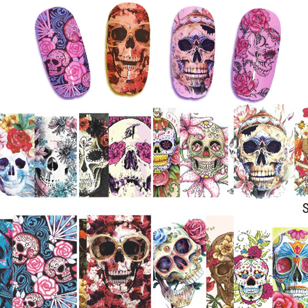1 sheet Nail Sticker Halloween Style Cartoon Skull Patterns Full Cover Water Transfer Decal Color Sexy Tips STZ449-452(China (Mainland))