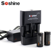 Soshine LiFePO4 RCR123 CR2 16340 battery Rapid Charger with 2pcs RCR123 16340 Battery 600mAh 3.2V Rechargeable LiFePO4 Battery