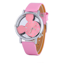 Optional Color Fashion Mickey Shape Women Watches 2016 Pretty Quartz Casual Hollow Dial Leather Wristwatches Women Dress Watch