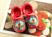 "2x2"" Netherlands Holland Dutch Wooden Shoes Tourist Travel Souvenir Fridge Magnet RED(China)"