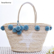 BEARBERRY VINTAGE BIG white STAR straw SHOULDER BAGS  Women's straw Tote Handbag With Hairball Shoulder Bag Travel  Bolsos