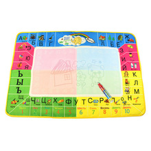 Hot 79 X 49cm 4 Colors Water Drawing Mat Magic Water Pen Drawing Board Baby Play Mats Doodle Cloth Book Early Educational Toys(China)