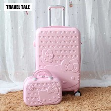 TRAVEL TALE 14inch Cosmetic Bag 20 24 28 Inch Lovely Hello Kitty Girl Student Trolley Case Travel Luggage Woman Rolling Suitcase(China)