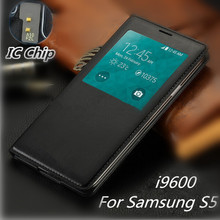 Luxury Smart View Auto Sleep Wake Function Flip Leather Case for Samsung Galaxy S5 i9600 with Chip Waterproof Phone Bags Cover