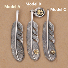 Solid Real 925 Sterling Silver Feather Charms Pendant DIY Trinket Vintage Indian Style Eagle Silver 925 Mens Jewelry Accessory