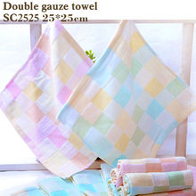 cotton bath towel double gauze squares printed baby towelThin section easy to dry Don't wash cotton terry towel towel baby slobb(China)