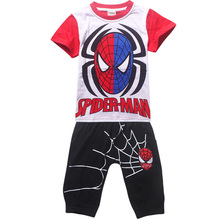 Retail 2017 New Children summer clothing set Boys Spiderman sport suits kids Haren suit short sleeve T-shirt and middle pants