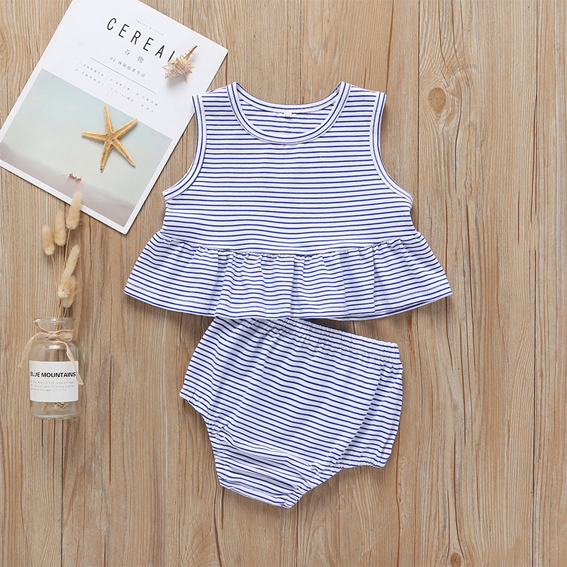 BABY Girls Striped Sleeveless Tops Shorts Set blue newborn girl clothes summer outfit cotton clothing for babies