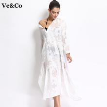 VE&CO Elegant Pareo Beach Cover Up 2017 New Sexy Bathing Suit Cove Up Summer Beach Long Dress Swim Wear Deep-V Swimsuit Cover Up(China)