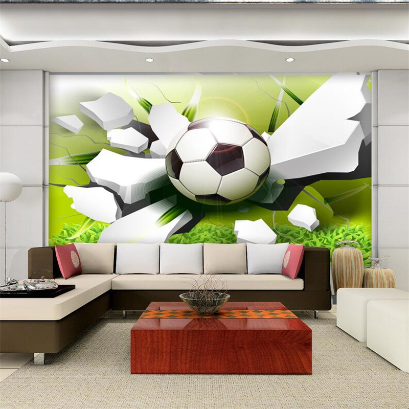 3D stereoscopic football to sew TV backdrop decoration painting custom murals living room bedroom childrens room wallpaper<br><br>Aliexpress