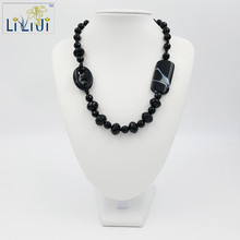 Natural Stone Black Agates Onyx&Crystal Agates Jades toogle clasp Necklace Approx 55cm/21inches