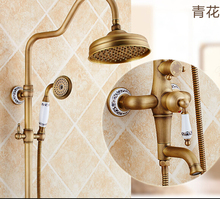 Luxury High Quality Bathroom Antique Brass Rain Shower Set,  Shower Faucet European style Bath & Shower Faucet Set, Wall Mounted
