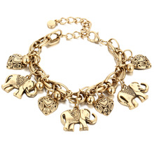Retro-chic Carved Boho Bijoux Charming Ethnic Elephant Pendant Bracelet & Bangles For Women Men Anklet Chain Gift Alloy Jewelry