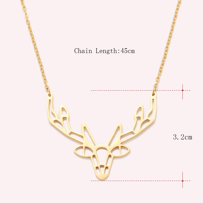 Cacana Stainless Steel Necklace Origami Deer Charm Necklace Women Boho Antler Horn Animal Christmas Jewelry Everyday Gift (3)