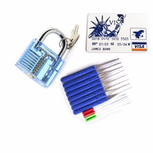 3 In 1  Locksmith Tools Set Transparent Blue Practice Lock,5pcs Lock Tools With James Card,10pcs Klom Broken Key Extractor Tools