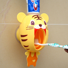For Kids Cute Cartoon animals Design Set Cartoon bathroom household Toothbrush Holder Automatic Toothpaste Dispenser toothpaste